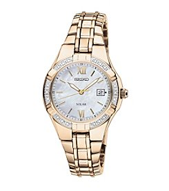 Seiko® Women's Goldtone White Dial Diamond Bezel Dress Watch