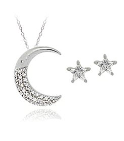 Designs by FMC Boxed Sterling Silver Plate Cubic Zirconia Moon Necklace with Star Studs Set