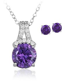 Designs by FMC Boxed Sterling Silver Plate Purple Cubic Zirconia Necklace with Stud Earrings Set