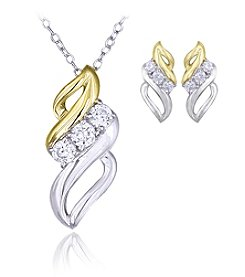 Designs by FMC Boxed Two Tone Silver Plate Swirl Cubic Zirconia Necklace with Stud Earrings Set