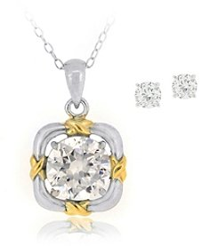 Designs by FMC Boxed Sterling Silver Two Tone Plate Cubic Zirconia Necklace with Stud Earrings Set