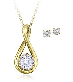 Designs by FMC Boxed Sterling Silver Yellow Plate Infinity Cubic Zirconia Necklace with Studs Set