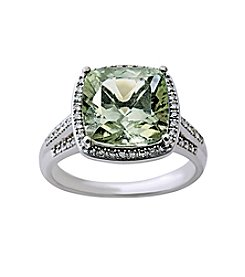 Green Amethyst and 0.20 ct. t.w. Diamond Ring in Sterling Silver