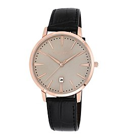 Vince Camuto™ Men's Rose Goldtone Crocograin Leather Strap Watch
