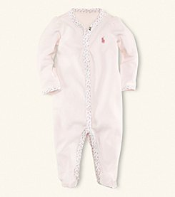 Ralph Lauren® Baby Girls' Floral Trim Coverall