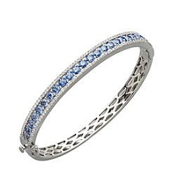 Balentino® Blue and White Cubic Zirconia Bangle Bracelet in Sterling Silver
