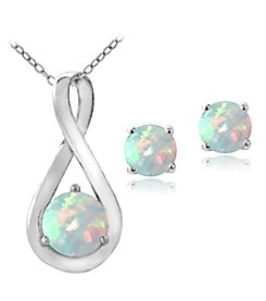 Designs by FMC Sterling Silver Plated Created Opal Pendant Necklace and Earrings Boxed Set