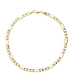 10K Yellow Gold Polished 3+1 Figaro Gents Bracelet