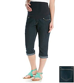 Three Seasons Maternity™ Dark Rinse Cuffed Bling Denim Capris
