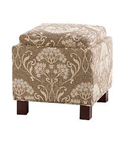 Madison Park Shelley Beige Square Storage Ottoman with Pillows