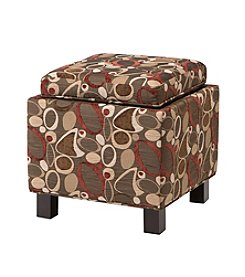 Madison Park Shelley Brown Square Storage Ottoman with Pillows