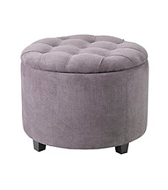 Madison Park Sasha Round Ottoman with Shoe Holder Insert