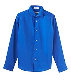 Calvin Klein Boys' 8-20 Long Sleeve Sateen Shirt