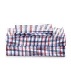 LivingQuarters Easy Care Microfiber Red and Blue Windowpane Sheet Sets