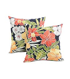 Greendale Home Fashions Set of Two Aloha in Black Outdoor Accent Pillows