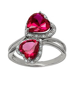Lab Created Double Heart Ruby Ring in Sterling Silver