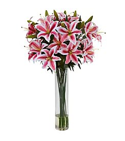 Nearly Natural® Rubrum Lily with Large Cylinder Arrangement
