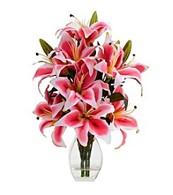 Nearly Natural® Rubrum Lily with Decorative Vase