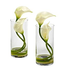 Nearly Natural® Set of Two Double Calla Lily with Cylinder