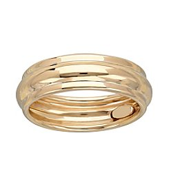14K Yellow Gold Polished Ribbed Band Ring