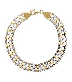 10K Yellow Gold Polished S-Shaped Track Bracelet