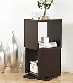 Baxton Studios Ogden Dark Brown 2-Level Rotating Modern Bookshelf