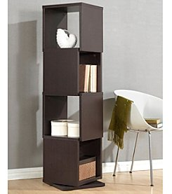 Baxton Studios Ogden Dark Brown 4-Level Rotating Modern Bookshelf