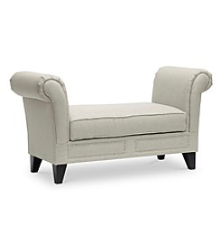 Baxton Studios Marsha Light Beige Modern Scroll Arm Bench