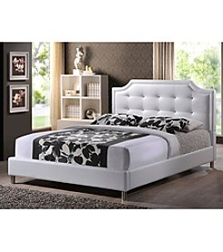 Baxton Studios Carlotta White Modern Bed with Upholstered Headboard