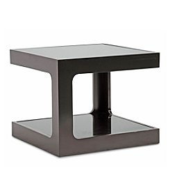 Baxton Studios Clara Black Modern End Table with 2 Glass Shelves
