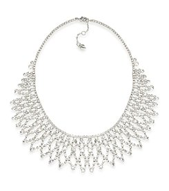Carolee® Silvertone Crystal Stems Dramatic Frontal Necklace