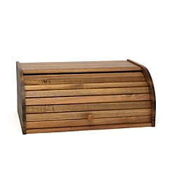 Lipper International Acacia Roll Top Bread Box