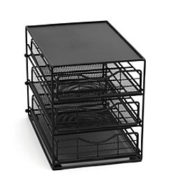 Lipper International 3-Tier In Cabinet Black Mesh Coffee Drawer