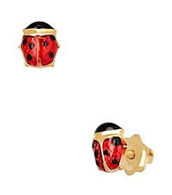 14K Gold Enamel Ladybug Baby Earrings
