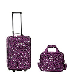 Rockland 2-pc. Purple Leopard Luggage Set
