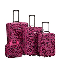 Rockland 4-pc. Magenta Leopard Luggage Set