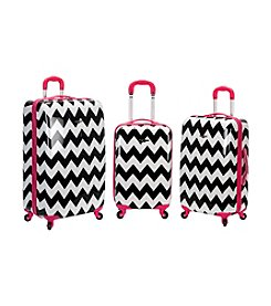 Rockland 3-pc. Pink Chevron ABS Upright Luggage Set