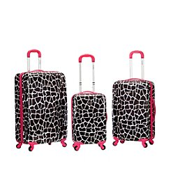 Rockland 3-pc. Pink Giraffe ABS Upright Luggage Set