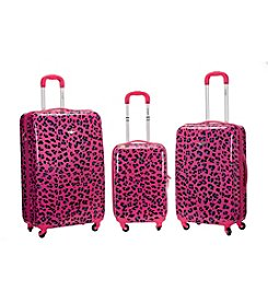 Rockland 3-pc. Magenta Leopard ABS Upright Luggage Set