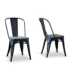 Baxton Studios French Industrial Black Set of 2 Bistro Chair