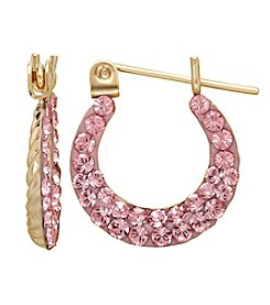 14K Yellow Gold Hoop Earrings with Rose Crystal  Pave Finish