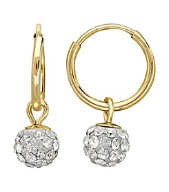 14K Yellow Gold Endless Hoop Earrings with Crystal Ball Drop