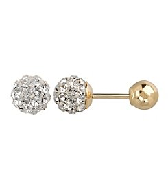 Clear Crystal Reversible Stud Earrings in 14K Yellow Gold