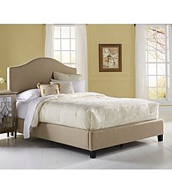 Home Meridian Saddle Back Beige Queen Upholstered Headboard & Footboard Collection