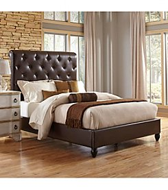 Home Meridian Sleigh Chocolate Queen Upholstered Headboard & Footboard Collection