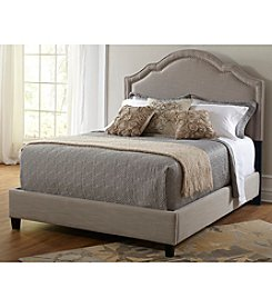 Home Meridian Taupe Shaped Nailhead Upholstered Headboard & Footboard Collection