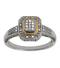 0.10 ct. t.w. Diamond in Sterling Silver and 14K Yellow Gold Ring