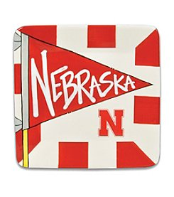 University of Nebraska Magnolia Lane Small Flag Square Plate