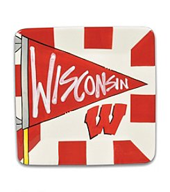 NCAA® University of Wisconsin Small Flag Square Plate