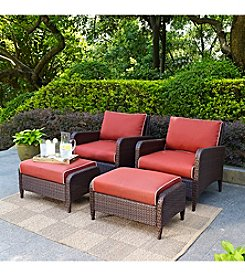 Crosley Furniture Kiawah Outdoor Wicker Chair Seating Set with Sangria Cushions
